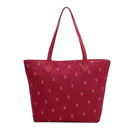 Leinwand Frauen Retro Elegant Druck Individualität Große Kapazität Handtasche Red
