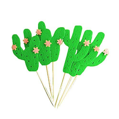 tz für Geburtstag, Kuchendekoration, 18 Stück Kaktus, Cupcake-Topper, Party, Hochzeitstorte, Tortendekoration, Gastgeschenke grün ()