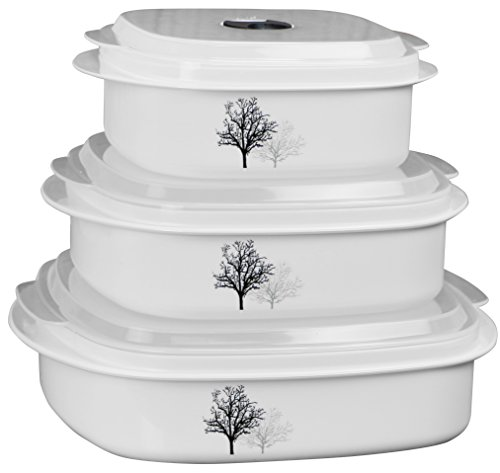 Corelle Coordinates by Reston Lloyd 6-Piece Microwave Cookware, Steamer and Storage Set, Timber Shadows