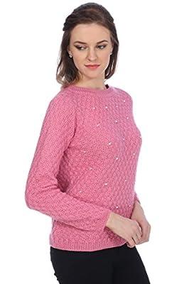 Ebony Twist Women's Round Neck Full Sleeves Pink Pearl Sweater