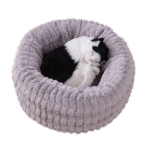 MongGood Fester Komfort Hund Donut Bett, Tierbett für Katzen und Klein Mittlere Hunde, Selbst Erwärmung Innenraum Rund Kissen Enge Umarmung - grau, L 60cm -
