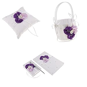 4 Teile/Satz Blumen Ring Kissen Korb Stift Set Gästebuch Hochzeitsfeier Lila