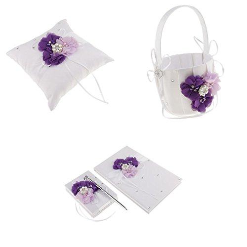 Blesiya 4 teile / satz Blumen Ring Kissen Korb Stift Set Gästebuch Hochzeitsfeier Lila - Gästebuch, Ring-kissen