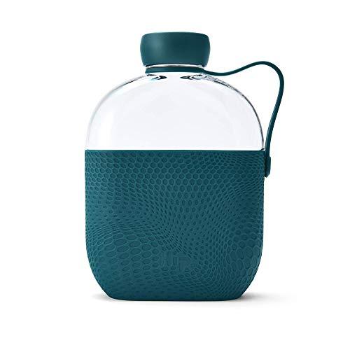 Hip - Borraccia in Tritan da 650 ml, con manicotto in silicone ruvido e cinturino laterale, senza BPA, Giada