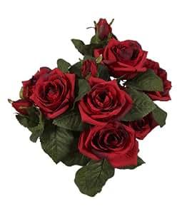 Bellafiora 02AMAZ035401 Fleurs Artificielles Bouquet de Rosiers Rouge 26 cm