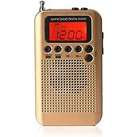 fiveschoice Radio FM Batería de 2AAA Portátil de Bolsillo Pantalla Digital Estéreo para Deportes Caminar Senderismo y Camping