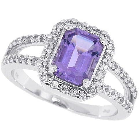 1.74Ct diamante taglio smeraldo Ametista oro bianco anello 10kt