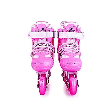 Crayom Sicherheit Keine Angst Frauen Inline Gerade Skate Damen Roller Skates Kinder & Erwachsene Inline Roller Skates drei Farben geben Spree ( Color : Pink , Size : L )