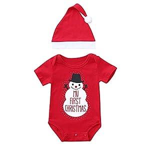 Baby Jumpsuit Kleidung | MEIbax 2 STÜCKE Weihnachten Kleinkind Baby Cartoon Schneemann Drucken Strampler + Hut Set Outfit