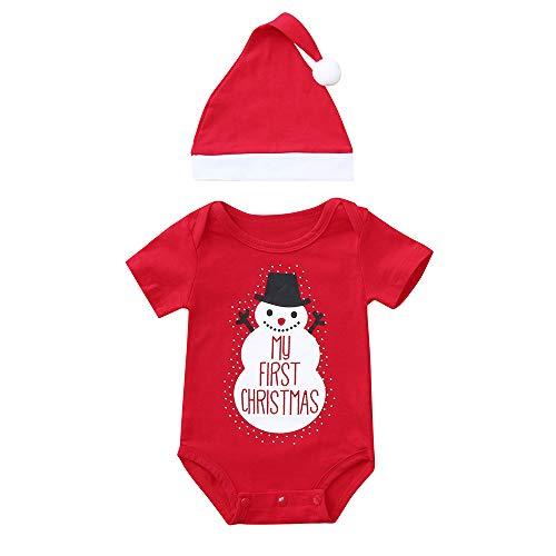 Infant Baby Jungen Mädchen Weihnachten Xmas Fleece Tops Pullover Hosen Hut Kleidung Set 2 Stücke Hosen ()