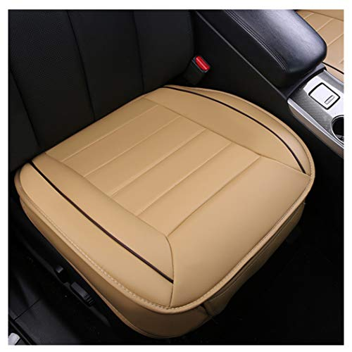 GUOCU Sitzbezüge Auto Sitzauflage Sitzkissen Auto Abdeckung für Vordersitz mit PU Leder,Beige,Vordersitz & Rücksitz