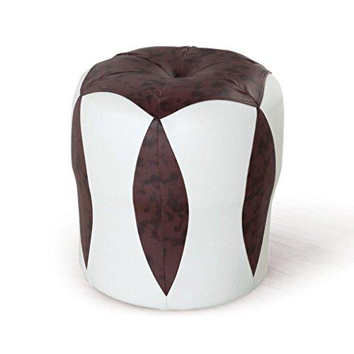 Tabouret de canapé Xuan - Worth Having Tabouret de Fleur Blanc + Marron Tabouret Bas Changer de Chaussures Tabouret de Maquillage en Cuir pour Enfants Étanche (33 * 33 * 35cm)