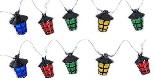 LED Garten Party Lichterkette bunte Laternen 10 Lampen - Innen und Außen, batteriebetrieben