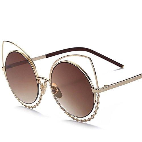 XYLUCKY Reflektierende Katze Auge gespiegelt Diamanten Runde Hohle Metall Frauen Sonnenbrillen, c