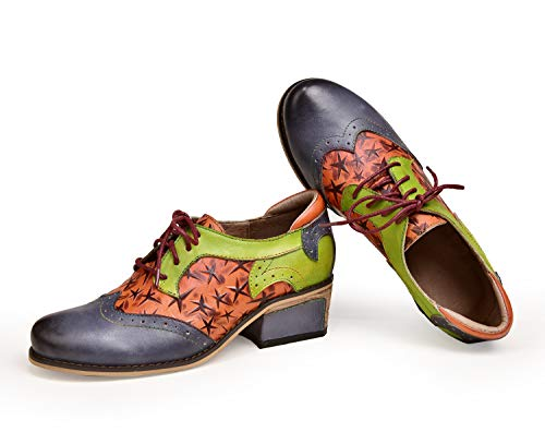 crazycatz Damen Leder Oxford Schuhe Perforierte Schnürspitze Bunte Leder Oxfords Vintage Oxford Schuhe (38 EU, BLACU H) Oxford Lace Up Pump Schuhe
