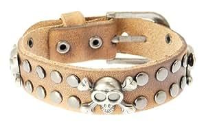 Skull & Crossbones Leather Cuff Wrap Around Gothic Wristband Bracelet With Buckle Fastening - MAXIMUM WRIST SIZE 21 cm