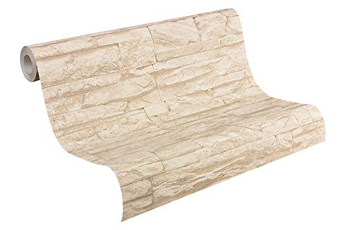 A.S. Création Vliestapete Best of Wood and Stone Tapete in Stein Optik fotorealistische Steintapete Naturstein 10,05 m x 0,53 m beige creme Made in Germany 707130 7071-30