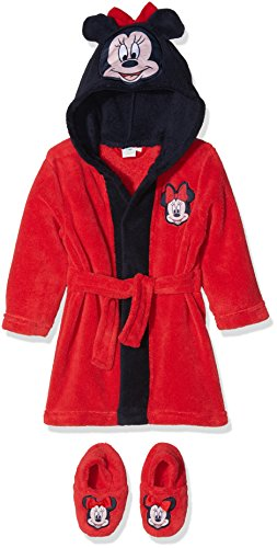 Disney Minnie Maus, Baby-Mädchen Bademantel mit Kapuze und passenden Hausschuhen, Rot, 80 (Baby Minnie Maus Baby-dusche)