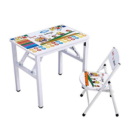ZH Escritorio y Silla Plegables para niños, Mesa de Cartas de Aprendizaje para Infantil, Juegos de Mesa y sillas, Estable...