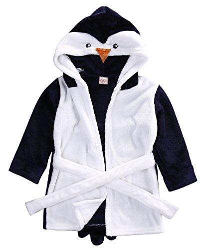 CHRONSTYLE Baby Bademantel Mit Kapuze Nachthemd Säuglings Tier Handtuch Ultra-weiches Fleece Pyjamas Kinderdecke (Pinguin, 130)