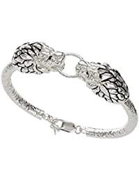 01f37358d0f Shiyara Jewells Rhodium Plated 92.5 Sterling Silver Furious Lion Mens  Bracelet MN00773