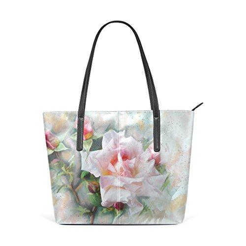 COOSUN Aquarell Rose PU Leder Schultertasche Handtasche und Handtaschen Tasche für Frauen