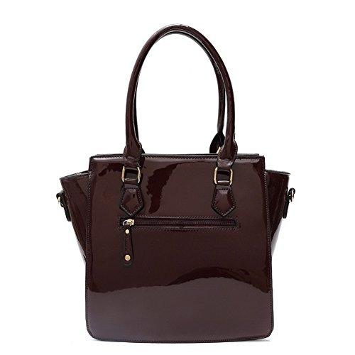 Blancho Bedding Womens [Trendy S # 2] Borsa di cuoio Fashion PU elegante Tote Bag Black Handbag 2 - Burgundy