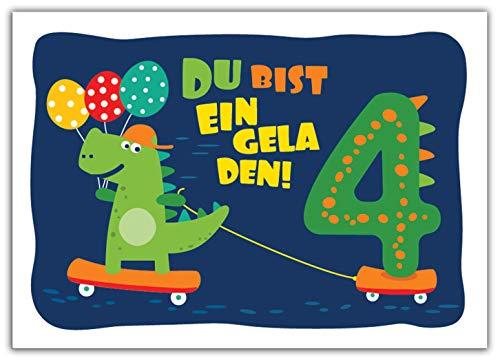 12 Einladungskarten zum 4. Kindergeburtstag Jungen Jungs Dinosaurier Einladungen vierte Geburtstag Kinder