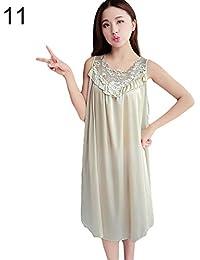 e35b8533b3 bigcity Women's Summer Fashion Sexy Sleeveless Loose Breathable Sleepwear Nightdress  Ice Silk Sexy Nightdress Ladies Silk