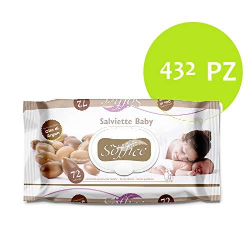 Palucart salviette imbevute neonato salviette bambini 6 confezioni da 72 pezzi cambio del pannolino all'olio di argan 432 pezzi