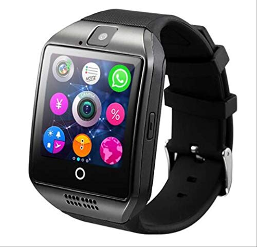SMSTG Smart Watch with Camera, Q18 Bluetooth Smartwatch SIM Tf Card Slot Fitness Activity Tracker Sport Watch for AndroidBlack