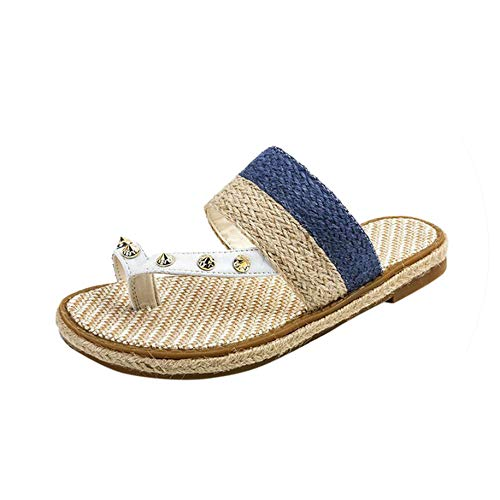 Women's Summer Slip-On Flat Weaving Open Toe Breathable Sandals Rome Shoes 2019,Blue,38