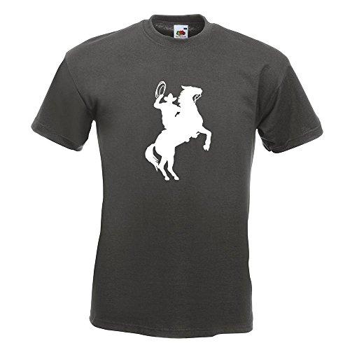 KIWISTAR - Cowboy mit Pferd Lasso T-Shirt in 15 verschiedenen Farben - Herren Funshirt bedruckt Design Sprüche Spruch Motive Oberteil Baumwolle Print Größe S M L XL XXL Graphit