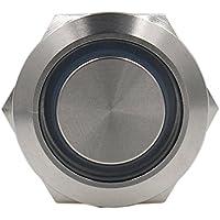 heschen 22mm Metal Interruptor De Botón Momentáneo 12VDC Eagle Eye anillo verde LED IP675A 250VAC