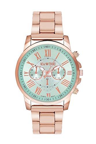 New Trend Unisex Armbanduhr Damen-Uhr Herren-Uhr Analog Quarzwerk Metall-Armband klassische schlichte Zeigeruhr mit Dornschließe