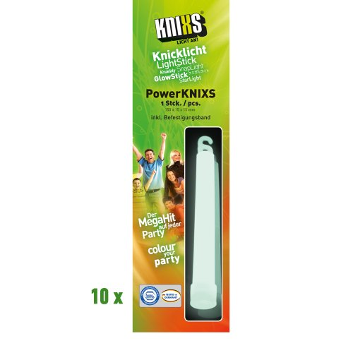 KNIXS - 10 Power Knicklichter / Leuchtstäbe, einzeln verpackt - Weiß - Größe 150x15mm