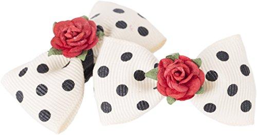 Cute VINTAGE Red Rose POLKA DOTS Bow Schleife HAARSPANGE - 1 Paar Rockabilly