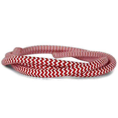 Textilkabel Für Lampe | Rund | Dreiadrig - 3x0,75mm² | Weiß - Rot Zebra - Streifen | 5 Meter Kabel Am Stück | Hohe Flexibilität (Zebra-streifen-lampe)