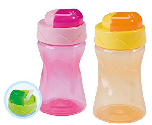 Baby Nova 2er Set Trinkhalmbecher Strohalmbecher Silikon (2er Set rosa und orange)