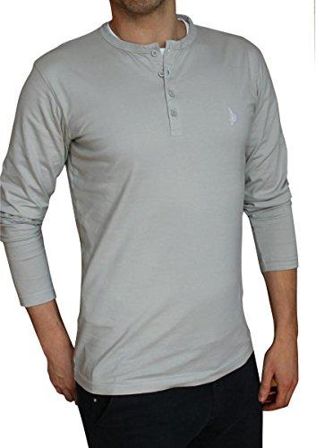 hundeinfo24.de Banqert Longsleeve-s Herren CHAMAREL Falls – Made in Mauritius – 100Prozent Pro-Ability Baumwolle, Herren Langarmshirt-s Männer Langarm T-Shirt Grey Grau, XXL