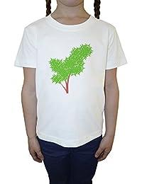 Arbusto Blanco Algodón Niña Niños Camiseta Manga Corta Cuello Redondo Mangas White Girls Kids T-shirt
