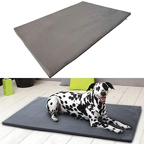 SunDeluxe Heimtierdecke Nelly - optimaler Liegekomfort für Ihr Haustier - Bequeme Hundematratze mit abnehmbaren Bezug und Antirutschbeschichtung, Farbe:Uni grau, Größe:S (80 x 60 x 3.5cm) -