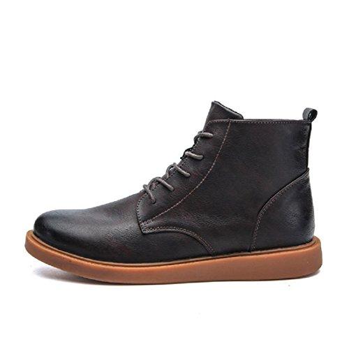 Hommes Mode Martin Bottes Loisirs Bottes Épais Bottom Flats Chaussures De Travail Chaussures Anti-slip Chaussures En Cuir Garder Chaud Euro Taille 39-44 Marron