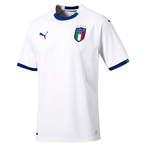 Puma Erwachsene Figc Italia Away Replica SS Shirt, White/Team Power Blue, - Trikot Italienische Nationalmannschaft