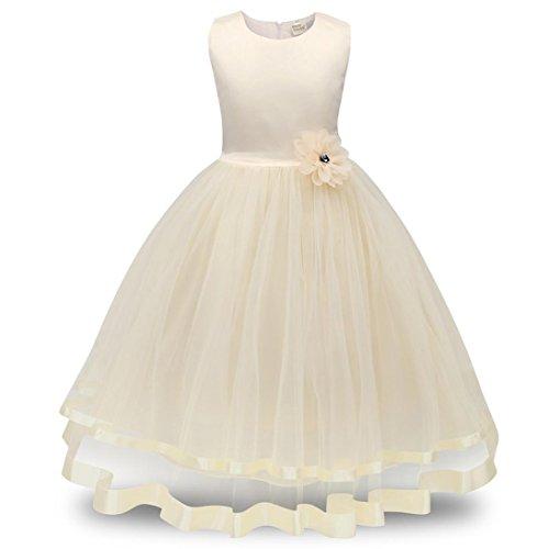Fuibo Fuibo Mädchen Partykleid, Festlich Kleid Blumenmädchen Prinzessin Brautjungfer Pageant Tutu Tüll Kleid Party Hochzeitskleid (Beige, 110)