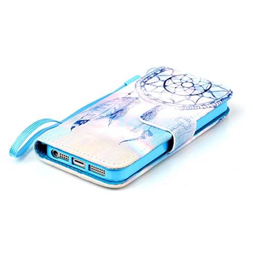 AYASHO® Schutzhülle für iPhone 5 5S SE Hüllen PU Leder Cover Tasche Soft Case Schutz Handyhülle Bunt Painted Silikon Back Cover Etui Schale Schutzhüllen mit Stand Magnetverschluss für iPhone 5 5S SE H A08