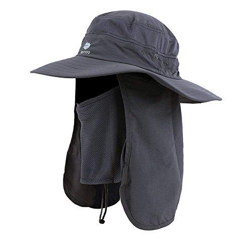 Anyoo Outdoor Nacken Gewicht Klappe Mütze UV Schutz Breite Krempe Kappe Angeln Jagen Bootfahren Wandern für Männer und Frauen