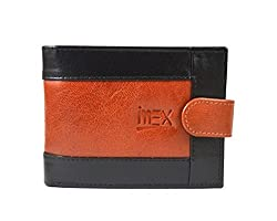 Imex Mens Black & Brown Genuine Leather Wallet