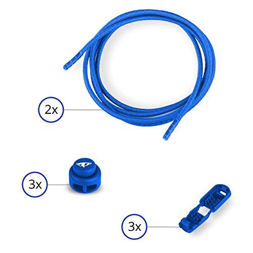 el ohne Binden Lock Lace ca. 110 cm Schnellverschluss reflektierend royal blau (Blaue Knopf Ca)