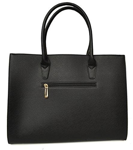 F Paris , Damen Tote-Tasche Noir (détails argentés) - Pompon (noir)